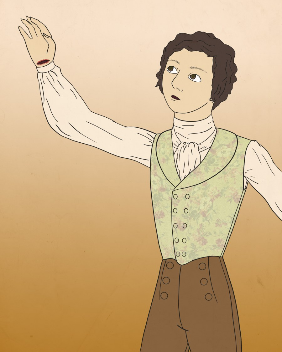 illustration of Roger Bevins III from Lincoln in the Bardo, a man with a slit wrist wearing Regency era clothing