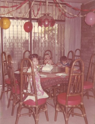 Birthday party, our rattan table and chairs
