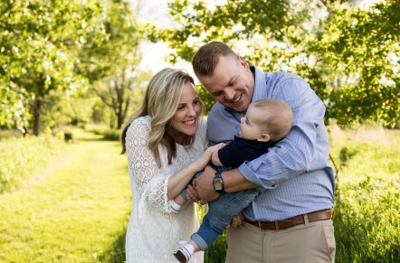Outdoor lifestyle family spring portrait by MN photographer Nicki Joachim Photography Owatonna Minnesota