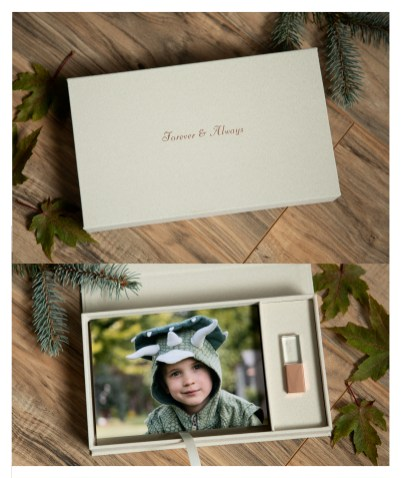 cream linen USB photo box with 5 by 7 space fro images