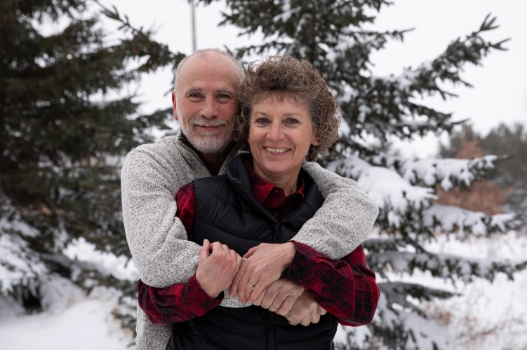 Outdoor Couple's Session in the winter for a Christmas Portrait by MN Photographer Nicki Joachim Photography of Owatonna Minnesota (1)