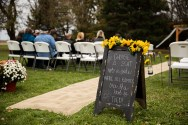 Rustic chalkboard welcome sign at outdoor country wedding in Kasson MN by MN Wedding Photographer Nicki Joachim Photography of Owatonna Minnesota