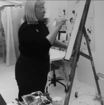 Nicki MacRae at work in the new studio