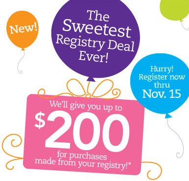 Babies R Us Sweetest Registry Deal Ever - Earn up to $200 Back