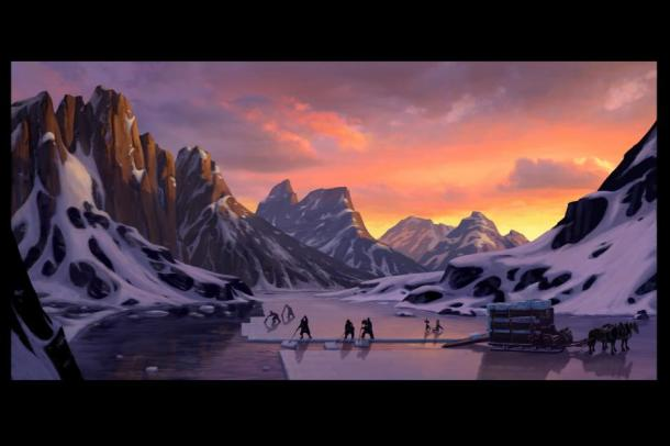 Concept art from opening scene of Frozen Heart Song