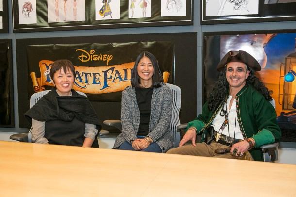 The Pirate Fairy LA Press Day at Disneytoon Studios. Pictured (L-R): Ritsuko Notani (Character Design), Yuriko Senoo (Animation Supervisor), Raymond Shenusay (Head of Story). Photo by Kayvon Esmaili. ©2014 Disney Enterprises, Inc. All Rights Reserved.