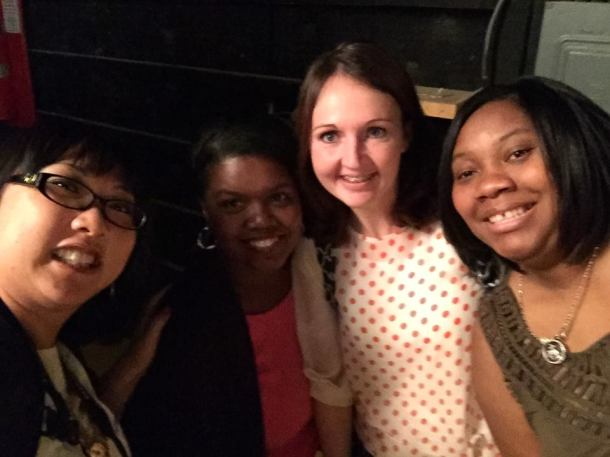 Terri-Ann, Onika, Melissa and I behind the scenes.  Secret episode taping.