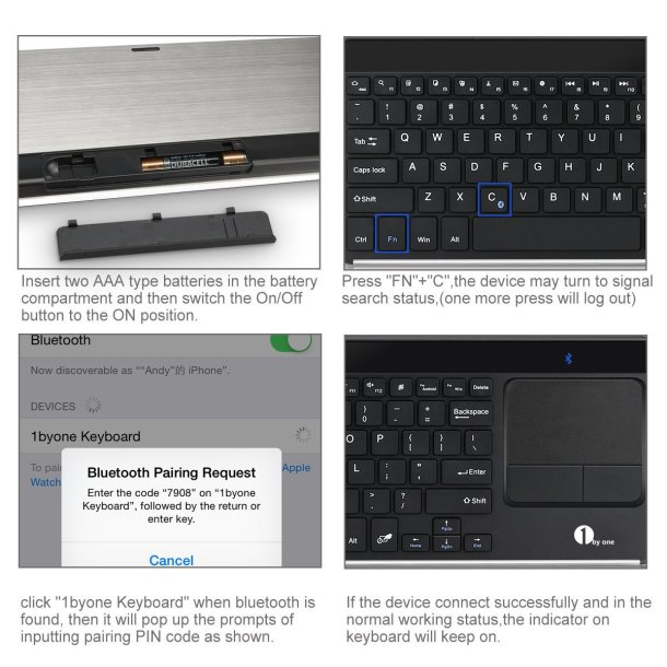 1byone Wireless Bluetooth Keyboard pairing steps