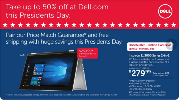 dell president's day sale