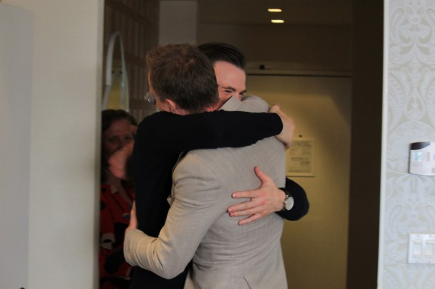 Paul and Chris Embrace during Captain America Press Day. (Coraline S./LoveBugs and Postcards)