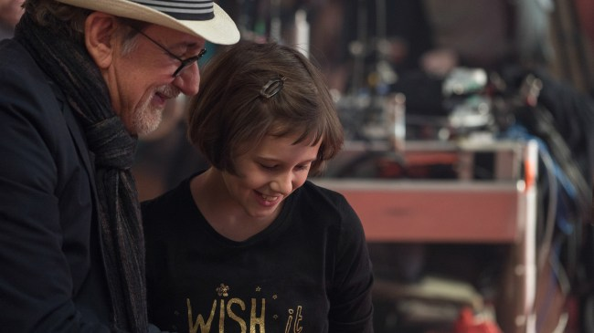 Director Steven Spielberg and Ruby Barnhill on the set of Disney's THE BFG, based on the best-sellling book by Roald Dahl.