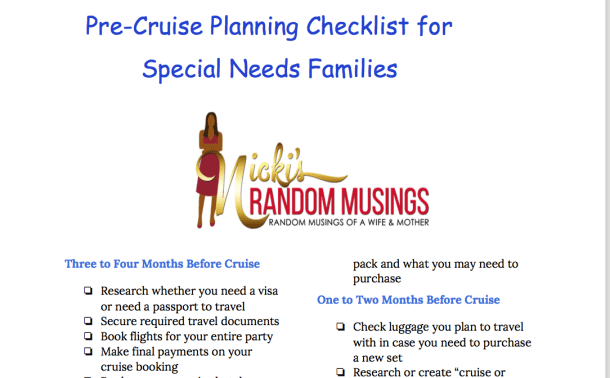 Free Printable Checklist for Special Needs Families Planning a Cruise