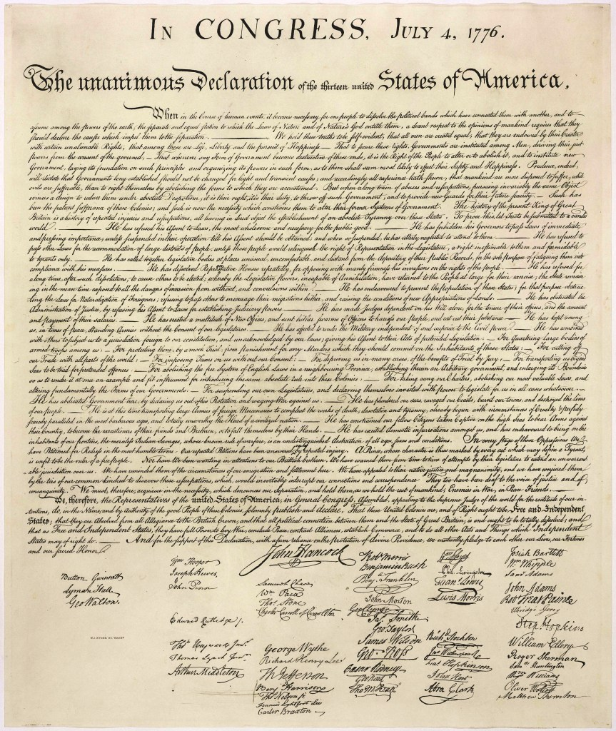 Cursive writing on the Declaration of Independence