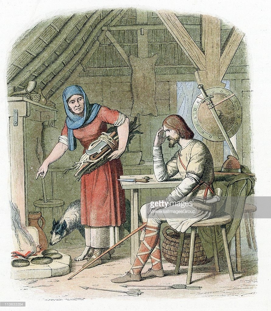 King Alfred, not recognized by a peasant woman, is chastised for being told to watch the bread bake and then allowing it to burn!