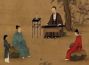 Man playing the guqin (stringed instrument) in Ancient China by Zhao Ji [Public Domain]