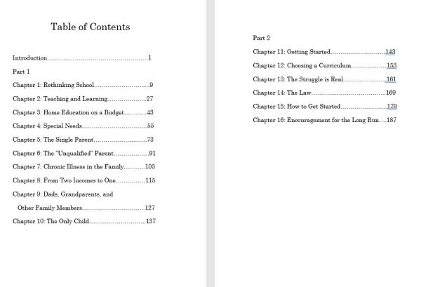 Anyone Can Homeschool table of Contents