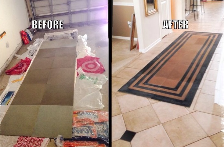 REUSE:  How to spray paint your rug.