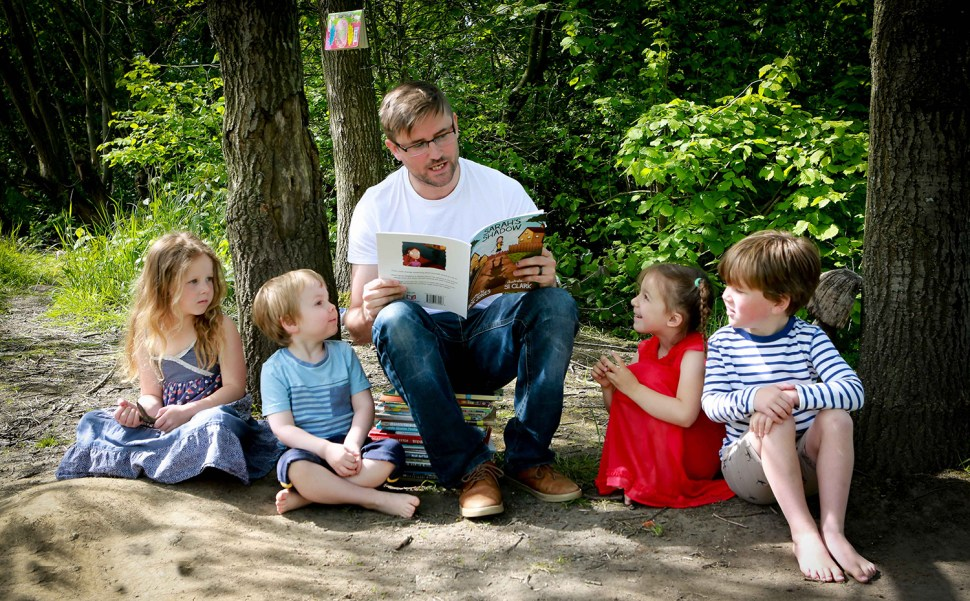 Nick Jones author with children