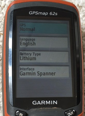 Settings on Garmin 62s