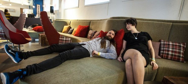 Skúli and Helga use the rare free time between gigs to relax in the Marina Hotel lounge