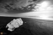 An iceberg washed up on the beach by Jökulsárlón