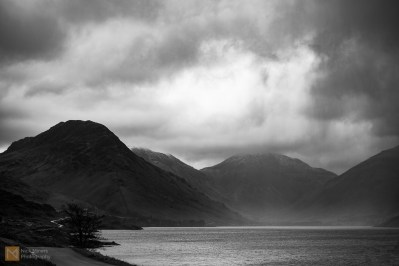 View of Wastwater with Great Gable disappearing into the clouds