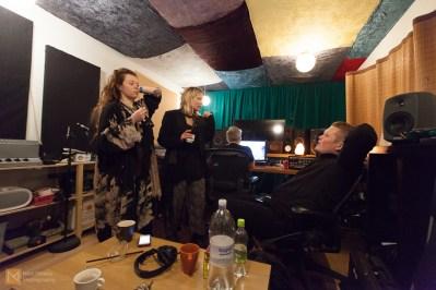 Alexandra, Kata and drummer Andri Bjartur Jakobsson chat as Curver works