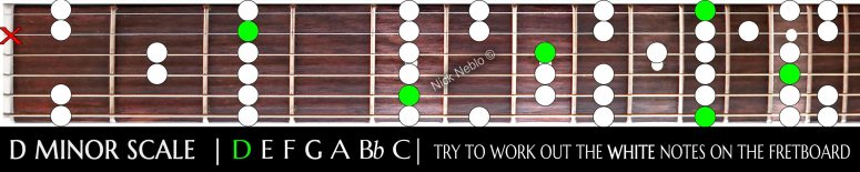 Easy D minor scale layout to learn and teach