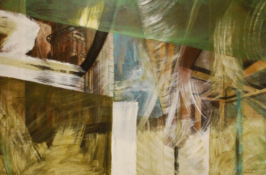 """""""City Space No. 6 (Existential),"""" 2014, oil and acrylic on canvas, 60 x 90."""