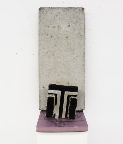 """""""LG TV,"""" 2015, foam insulation board, acrylic paint and concrete, 2 x 1 x 1 ft."""