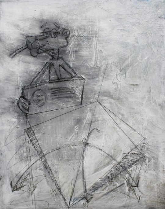 """""""Owens Corning,"""" 2015, acrylic, charcoal and paper on canvas, 2 x 2.5 ft."""