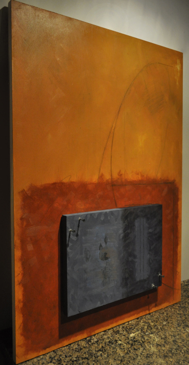 """""""Zombie Formalism,"""" 2014, oil on panel, 60 x 90 cm. Variable depth."""