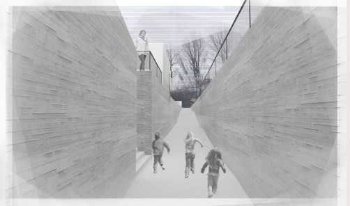 Lost Villages Museum Proposal, Collage-Render View of 39 ft Deep Trench