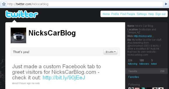 Nick's Car Blog on Twitter
