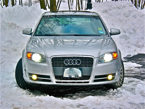 Silver Audi A4 in the snow