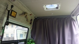 Curtains separating the cab from the living quarters