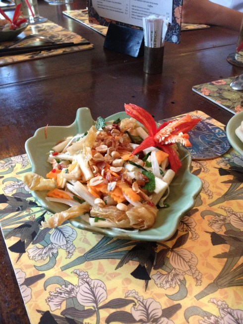 Rae's lotus stem salad, her final exam after her cooking class in Saigon.
