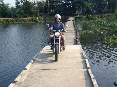 I totally could have jumped this river, but our lame guide insisted I use this floating bridge. What a buzz kill.