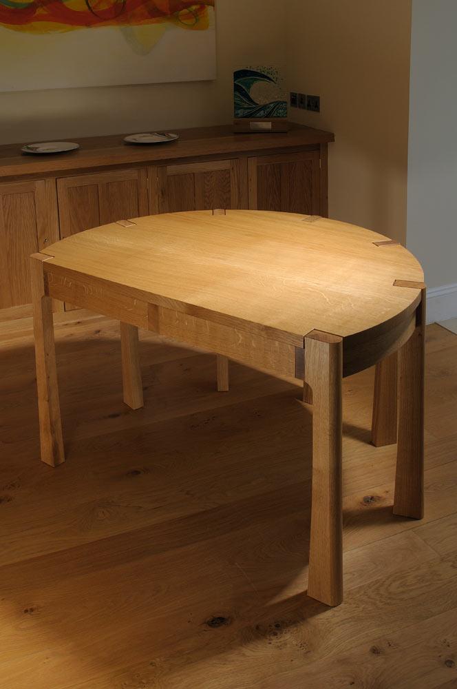 Round oak desk