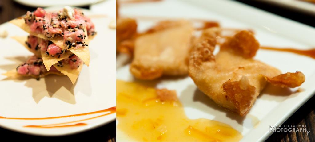 Bossanova's Stacked Spicy Tuna (left) and Salmon Rangoon (right)