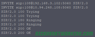 INVITE -> Trying -> Ringing -> OK
