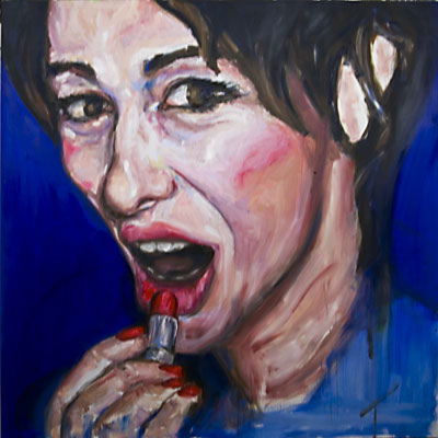 Lisa's Lips, Oil painting by: Nick Ward, work in progress