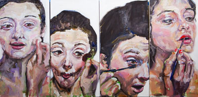 Transformation 3 (make up), work in progress, oil painting by Nick Ward