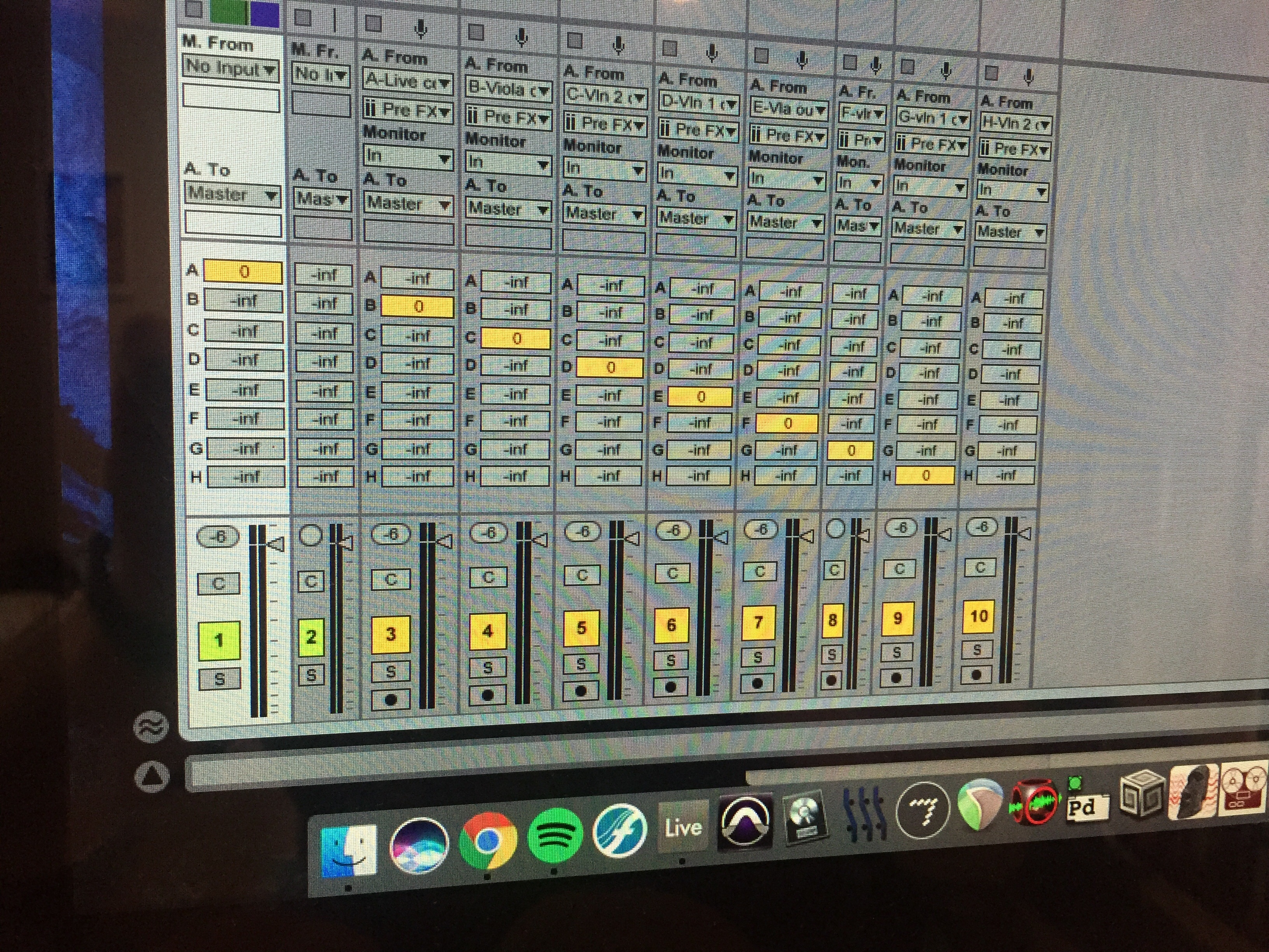 A chain of sends in Ableton Live