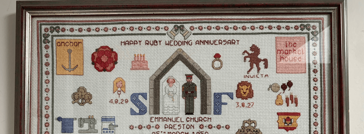top part of cross stitched sampler