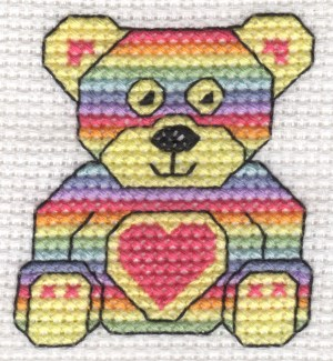rainbow teddy cross stitch