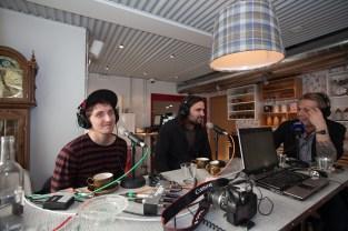 Kenny Vasoli & Reyka Rep Baddi being interviewed by Radio RÚV at Icelandair Hotel Reykjavik Marina