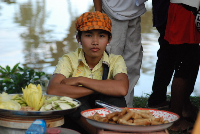 Food seller at the Water Festival 2010, Siem Reap