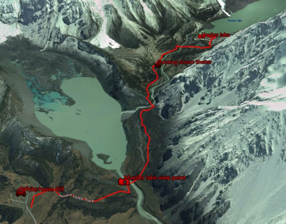 Hooker lake track aerial view
