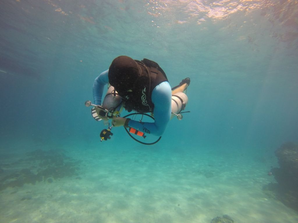 Diver in Sidemount Configuration in the Blue